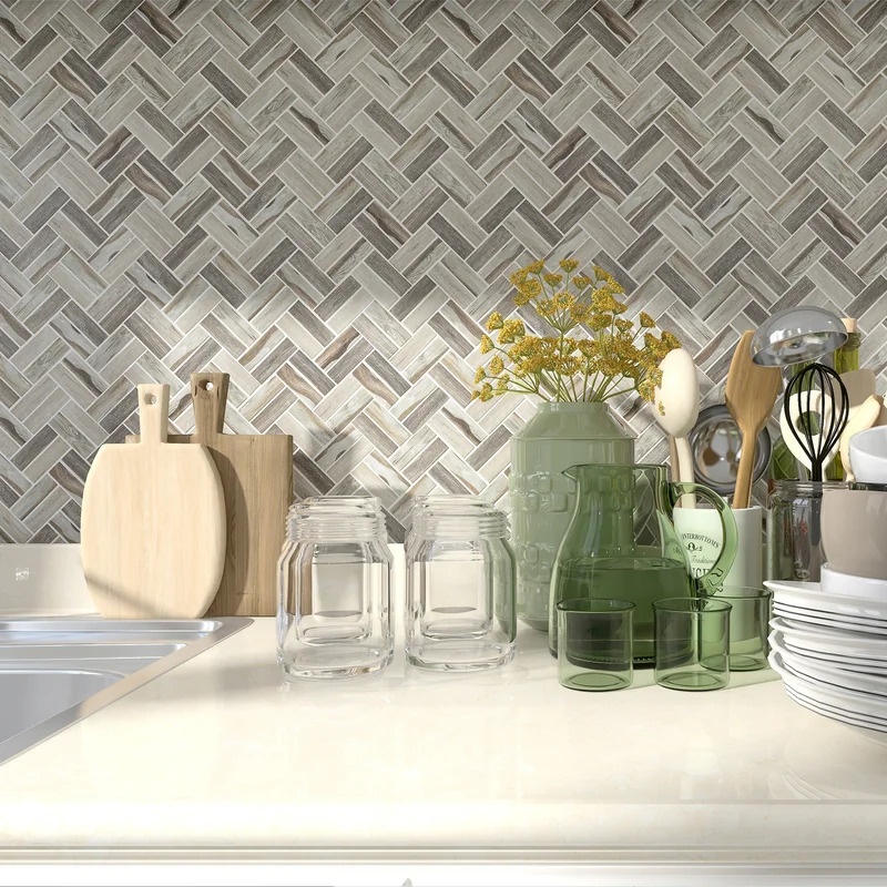 Use a Recycled Mosaic Backsplash for an Eco-Friendly Kitchen Design