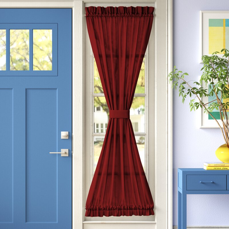 Brick Colored Curtains for a Contrasting Look Against Blue Walls