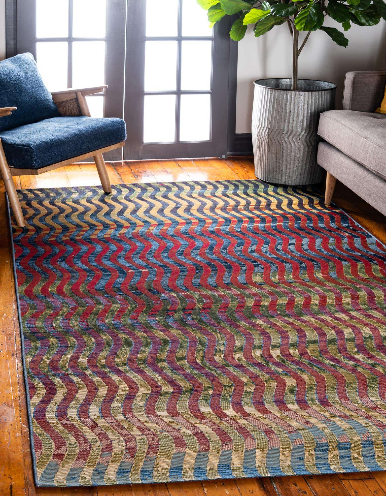 Multi-Colored Wave Rug