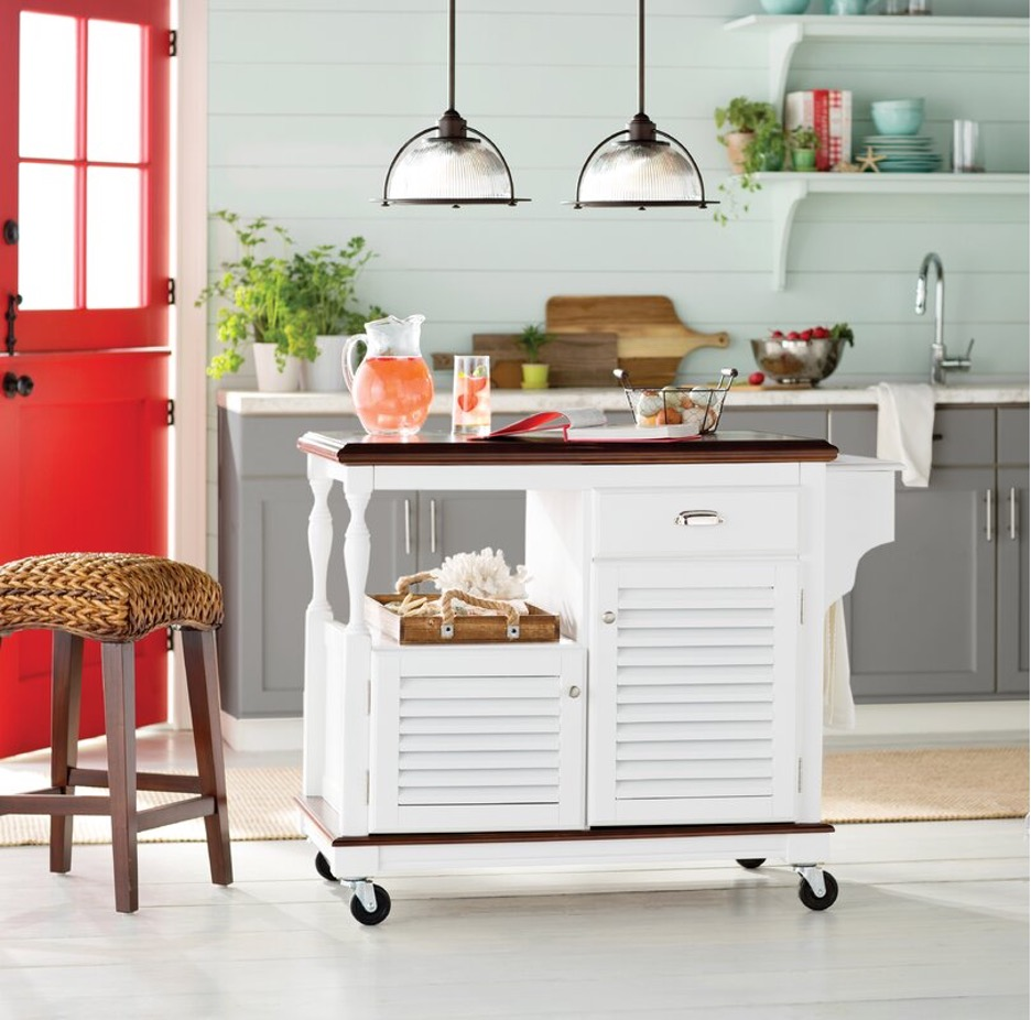 Stock Your Essentials within a Coastal Kitchen Cart