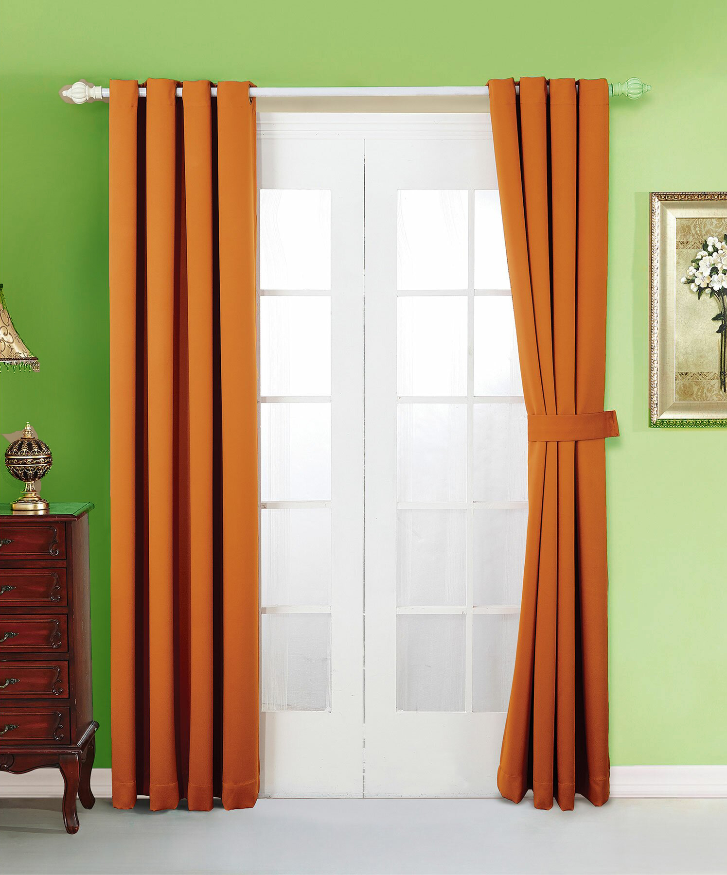 Orange Curtains for a Pop of Color