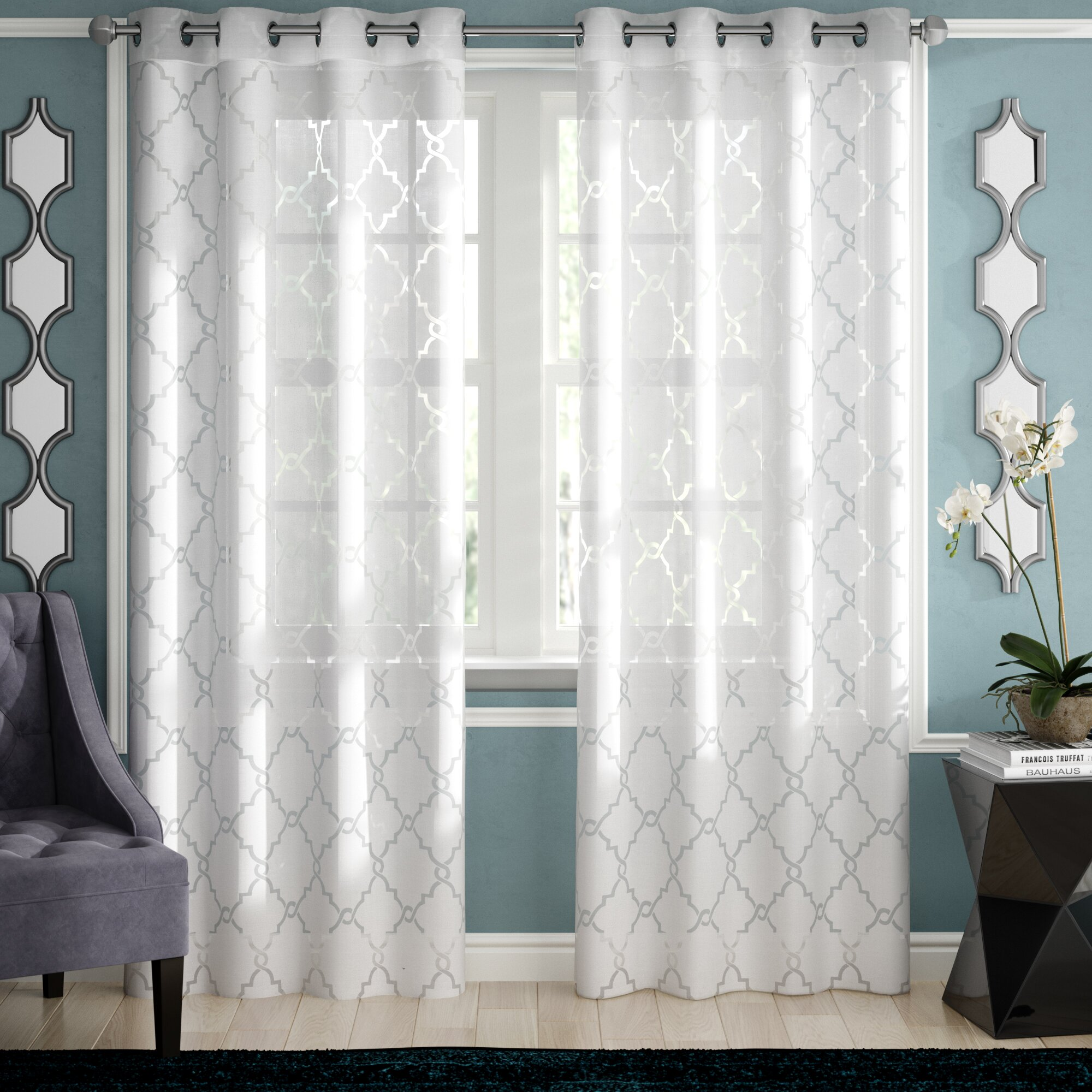 Sheer Patterned Curtains Fit In Great With Blue Wall