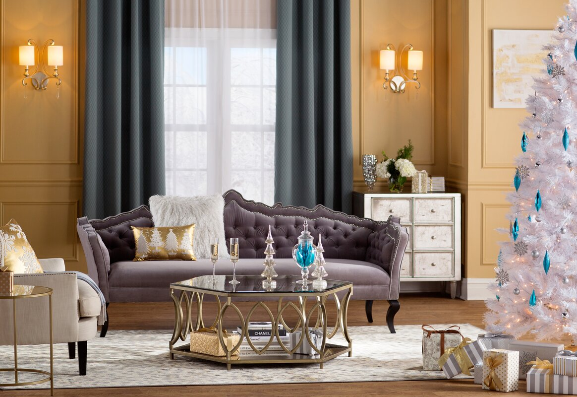 Solid Gray Curtains With Yellow Walls Are Perfect for a Glam Look