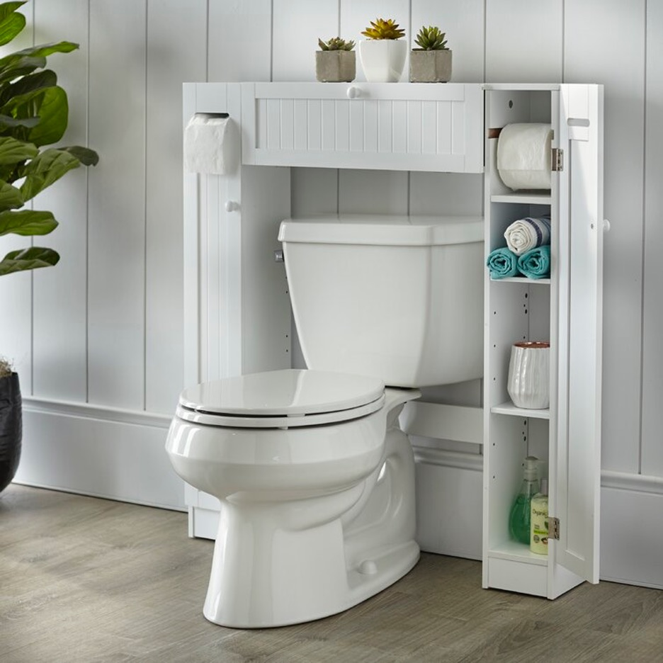 Select a Wall-Fitted Storage Unit with Dual Toilet Roll Holders