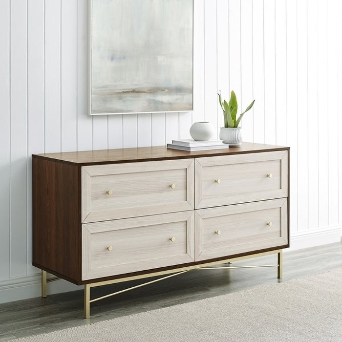 Silver Orchid 4 Drawer Dresser with Gold Base