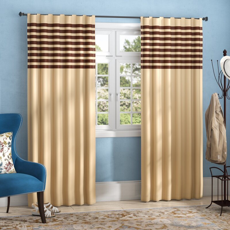Latte Colored Curtains With Stripes Bring Coziness Into a Room