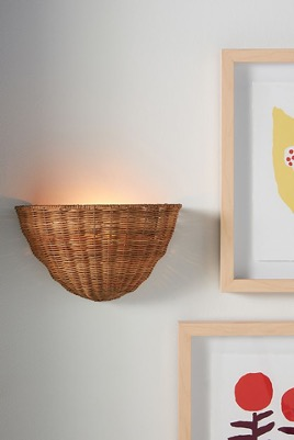 Light the Way with Basket-Weave Rattan Sconces