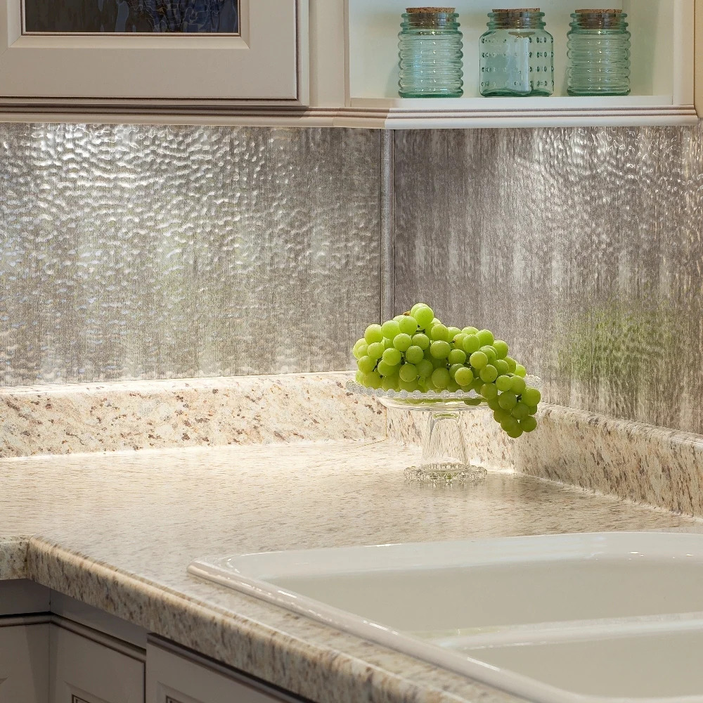 Go For a Modern Look With a Hammered Metal-Looking Backsplash