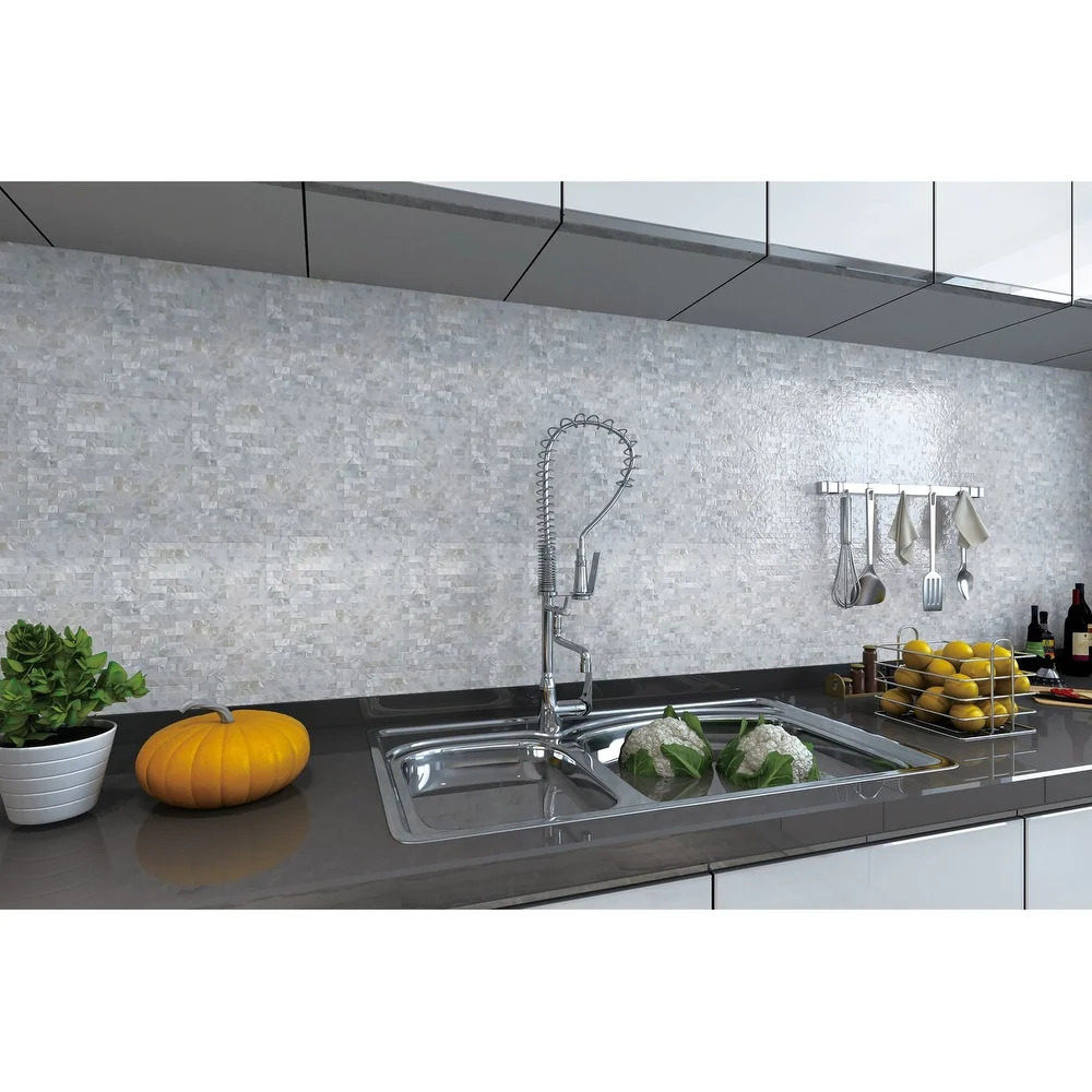Make Your Kitchen Shine With a Mother of Pearl Backsplash