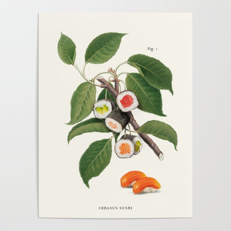 Flaunt Your Favorite Food with this Sushi Plant Poster