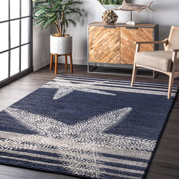 Blue Starfish and Stripes Area Rug