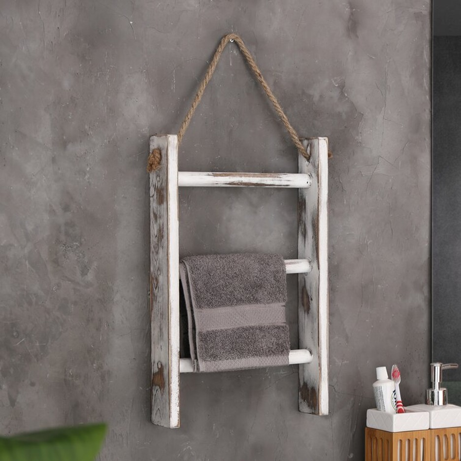 Hang a Rustic, Wooden Towel Ladder