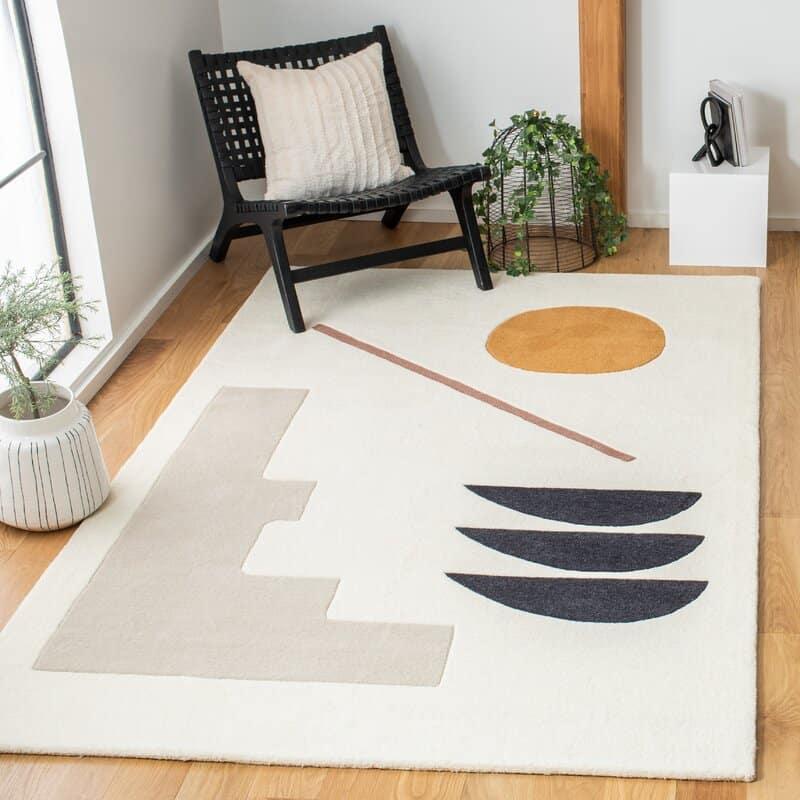 Geometric Ivory Area Rug