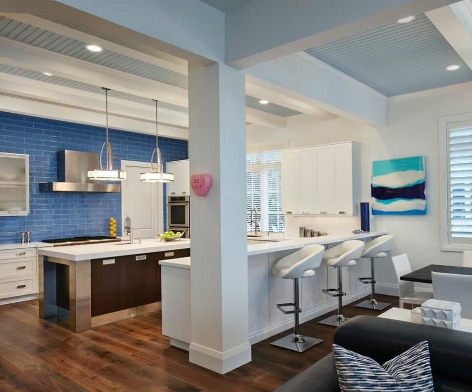 Add Swivel Seats to Your White Coastal Kitchen Counter