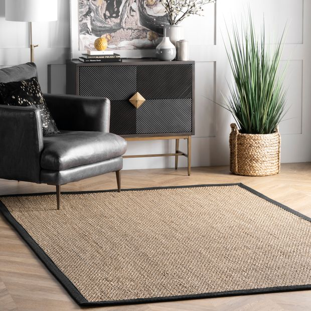 Black Seagrass with Border Area Rug
