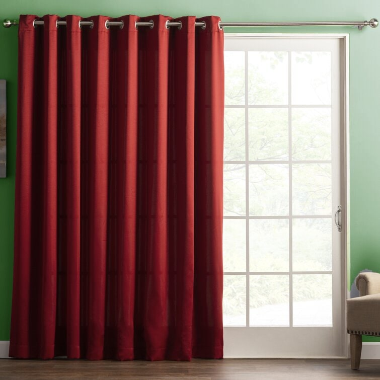 Brick-Colored Curtains Look Exciting With Green Walls