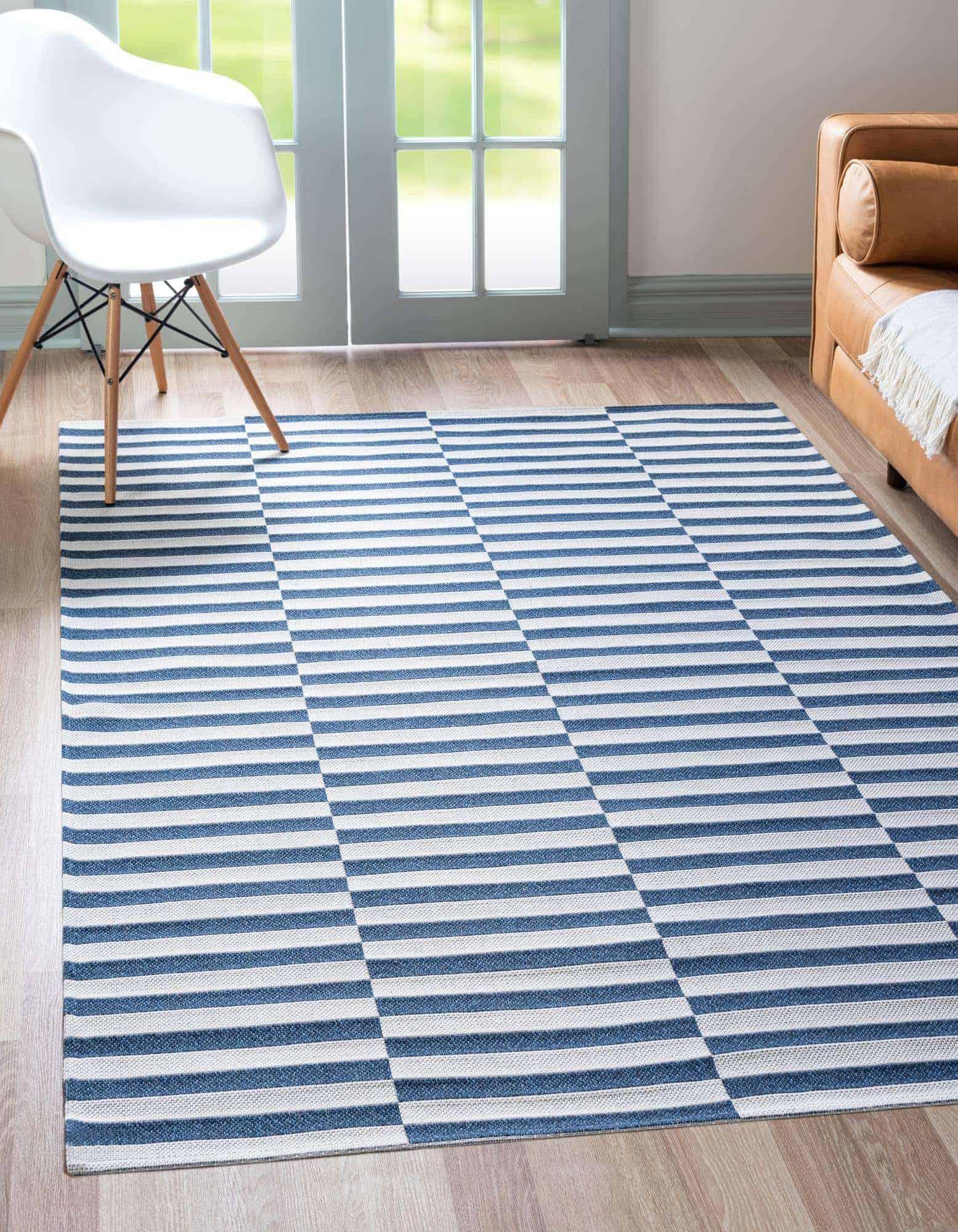 Navy Blue and White Geometric Rug