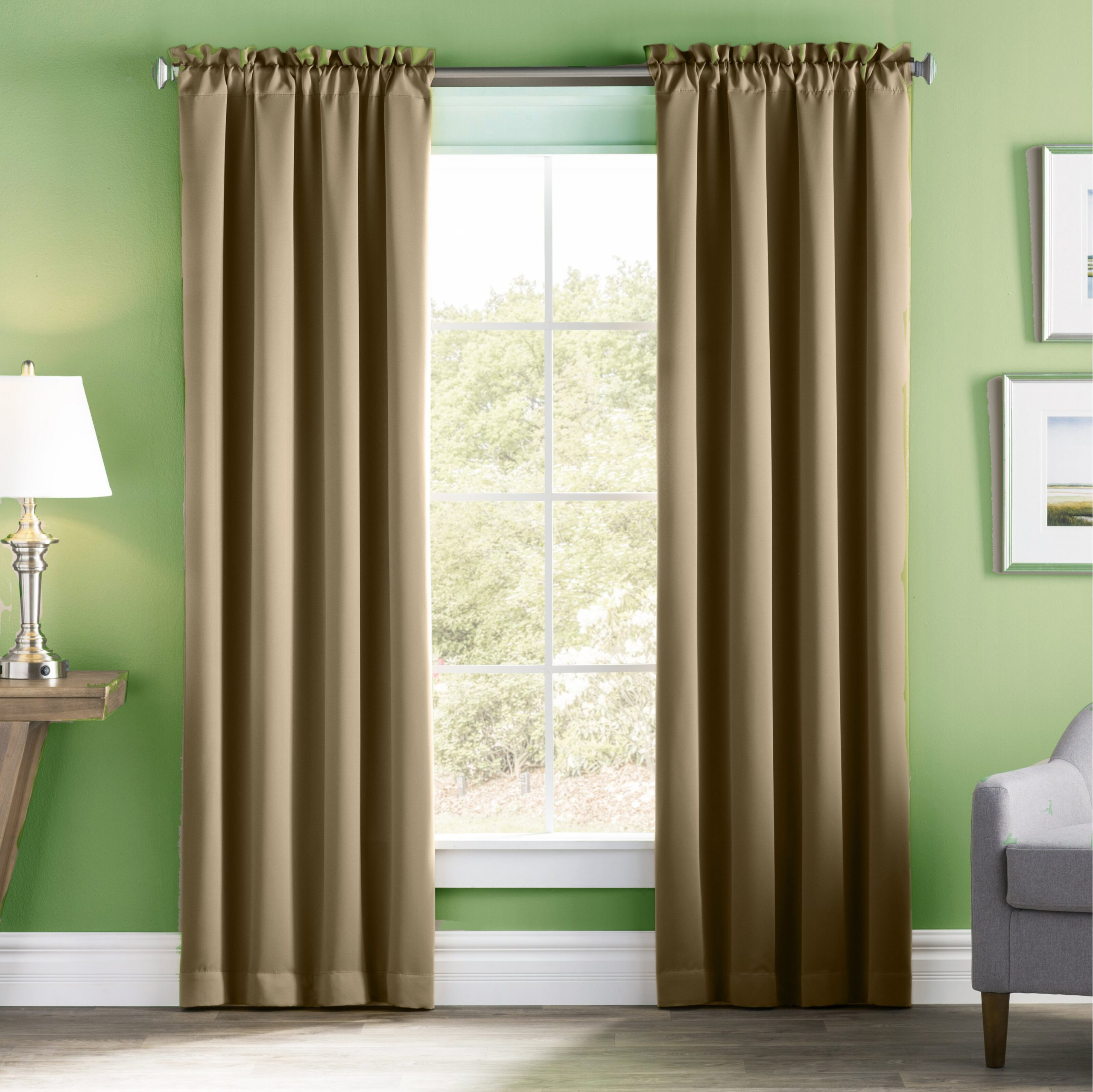 Taupe-Colored Curtains Match Well With Sage Green Walls