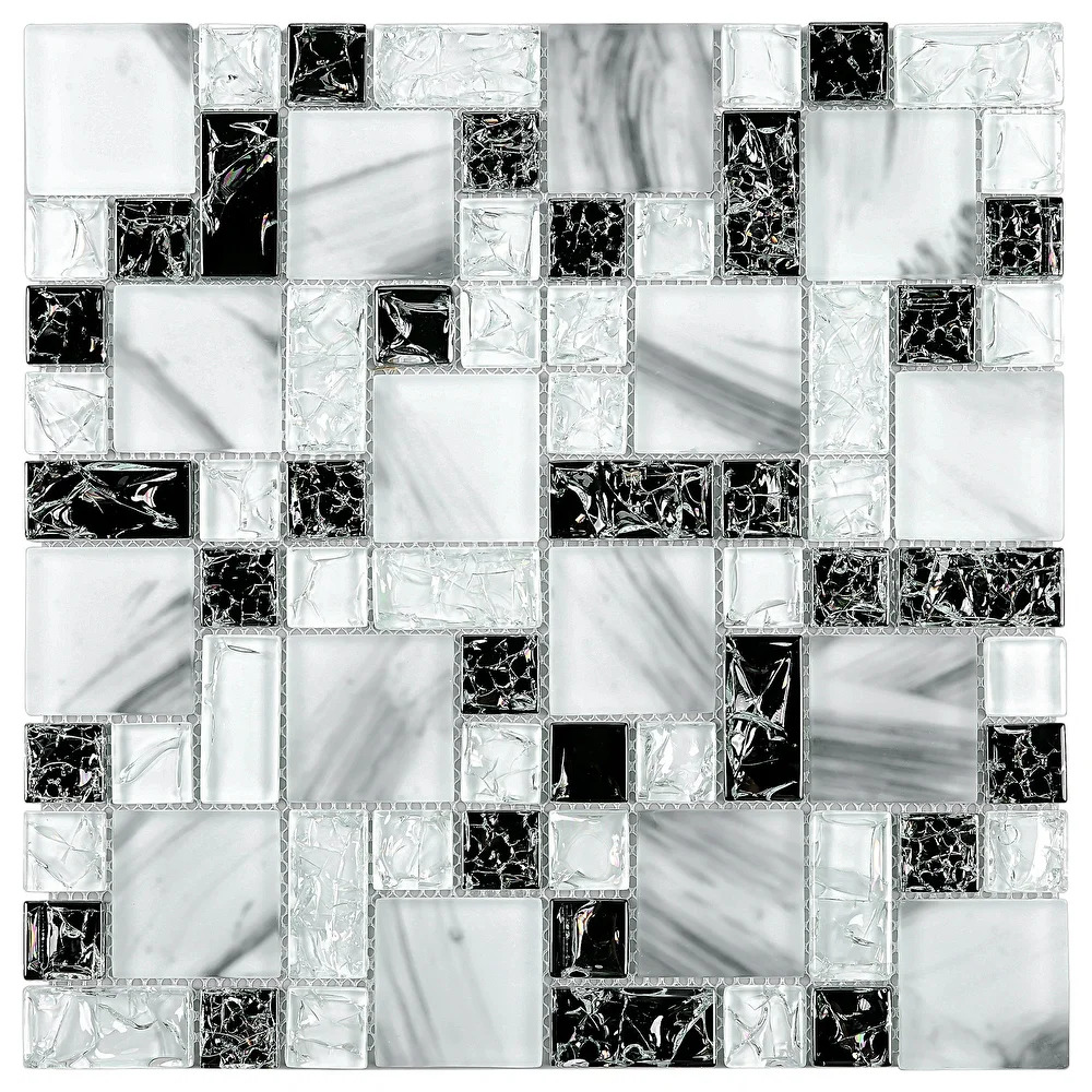 Use a Monochrome Crackle Glass Backsplash for Contrast