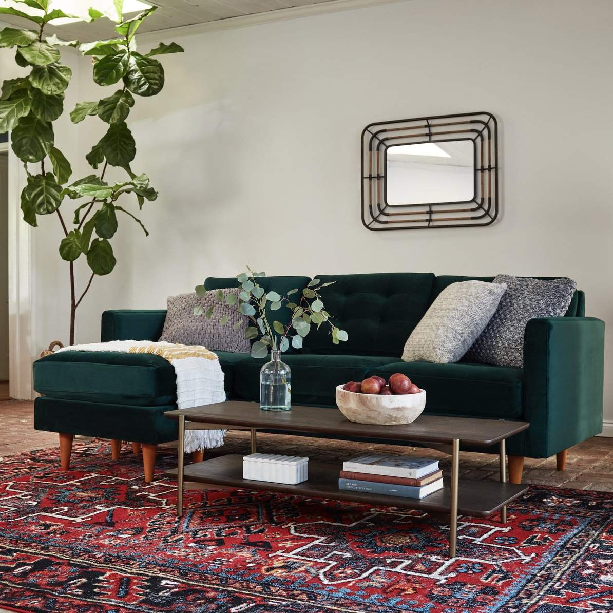Emphasize Your Green Couch With Grey