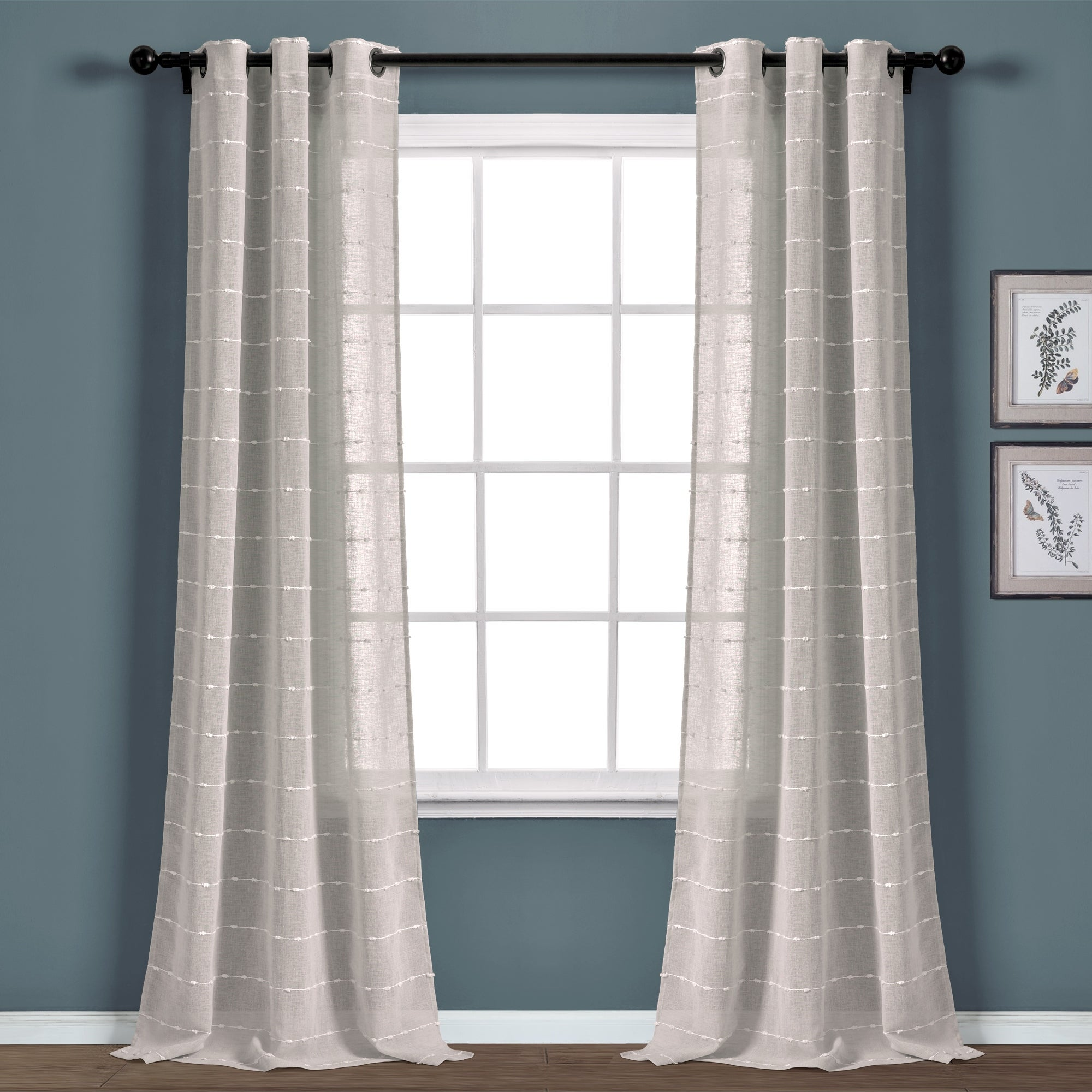 Gray Curtains Pop Against Blue Walls