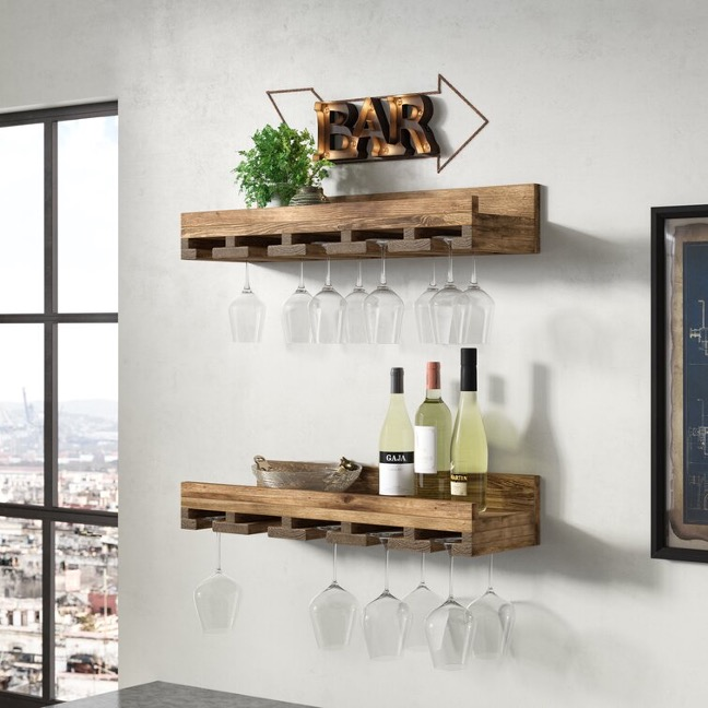 Nail In a Wooden Wine Shelf and Glass Hanging Rack