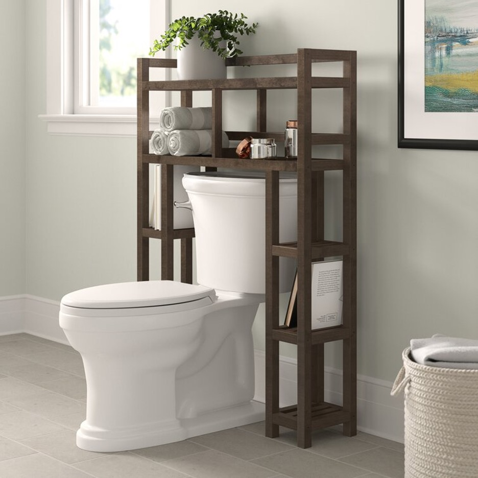 Try Some Cut-Out Solid Wood Over-The-Toilet Storage