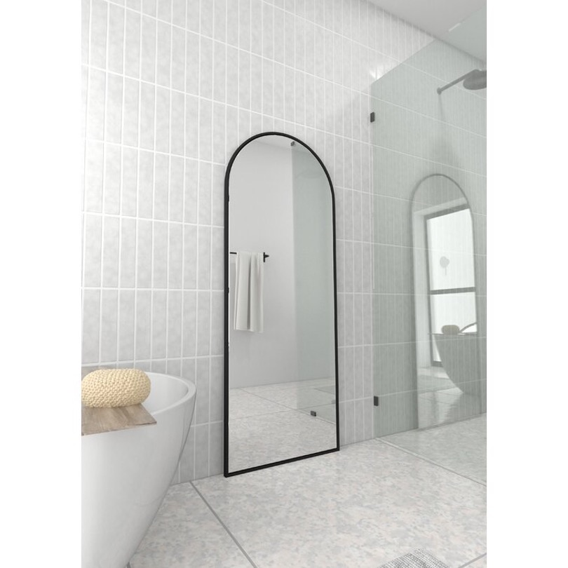 Use Floor Mirrors to Create the Illusion of an Elongated Bathroom