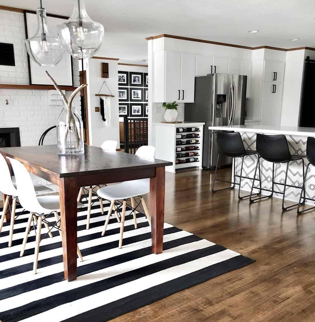 Black and White Striped Kitchen Rug