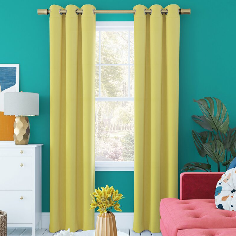 Yellow Curtains Look Stunning With Turquoise Walls