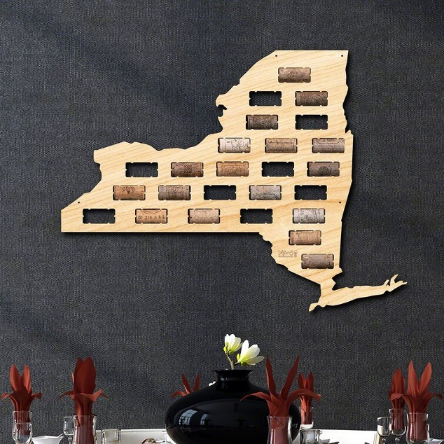 Keep Your Wine Corks Safe with a Map-Shaped Cork Holder…