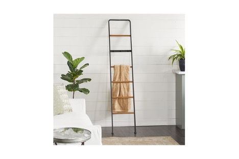 Push Up a Ladder Towel Rack Against the Wall