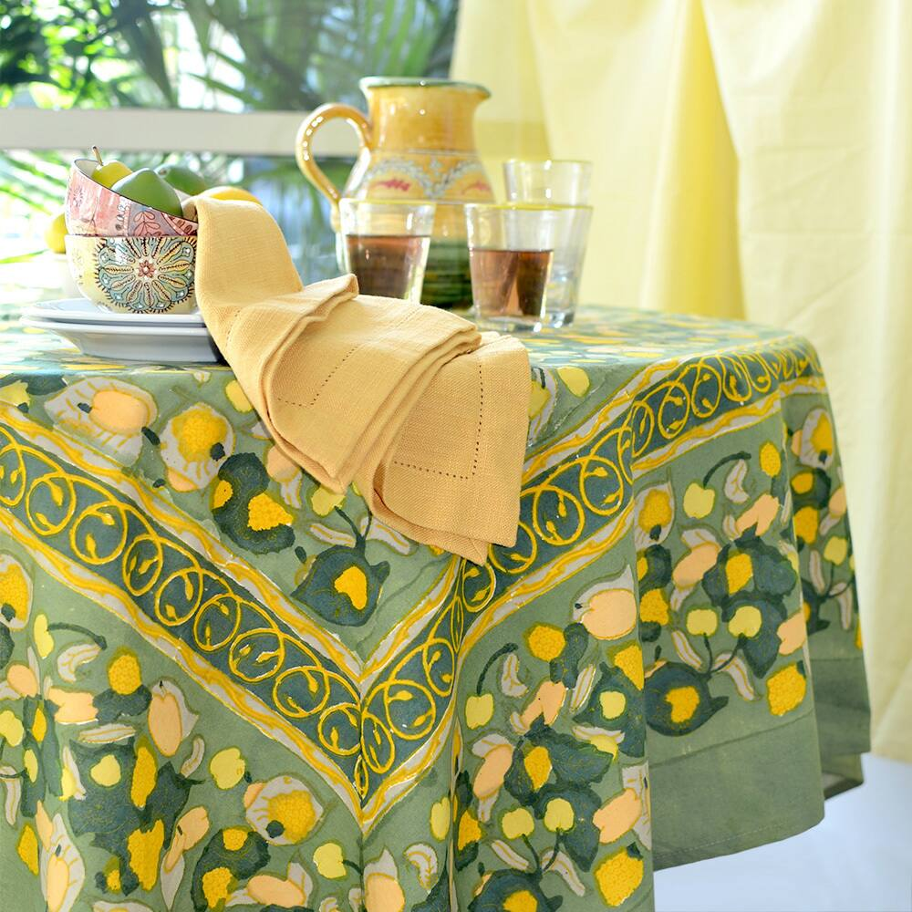 A Round Patterned Tablecloth Goes a Long Way