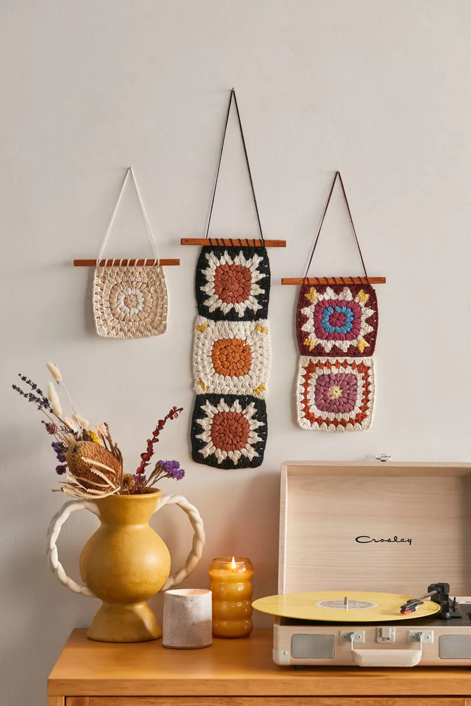 Add a Simple Artsy Touch With Hanging Crochet Squares