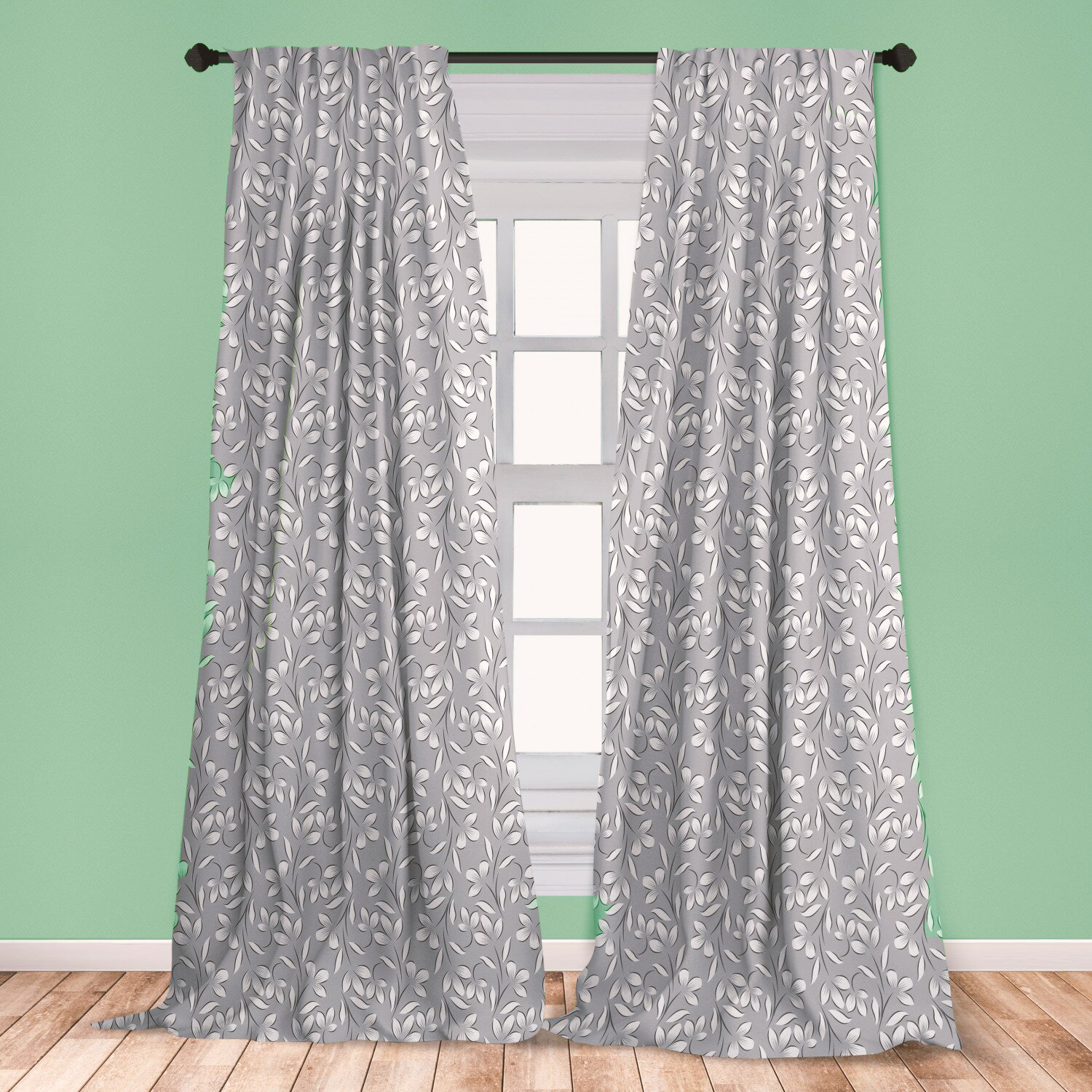 Gray Curtains Against Light Green Walls Feel Just Right