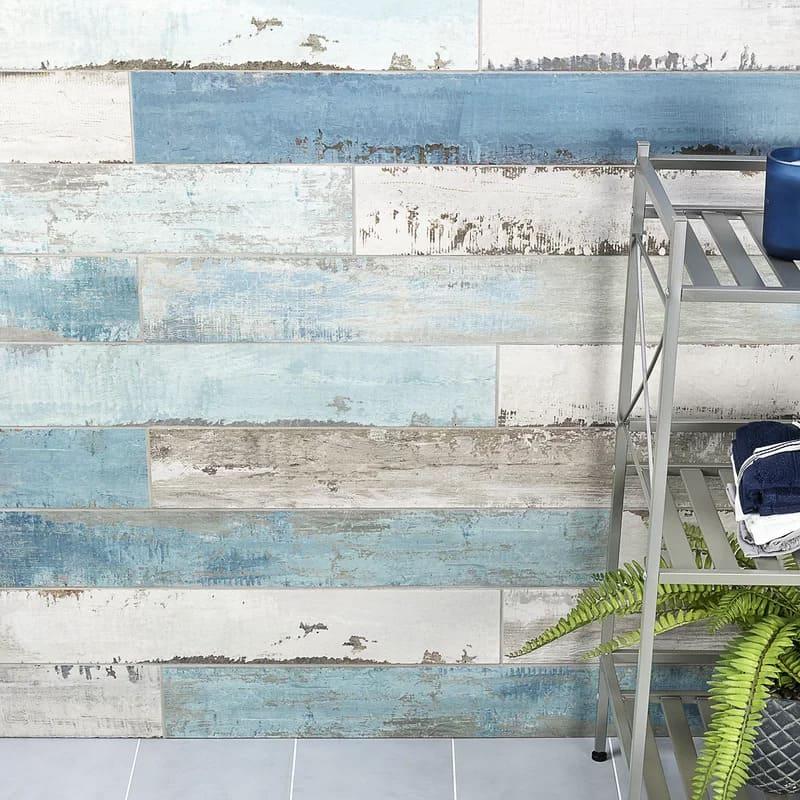 Use a Blue Wooden-Looking Backsplash for a Seaside Look