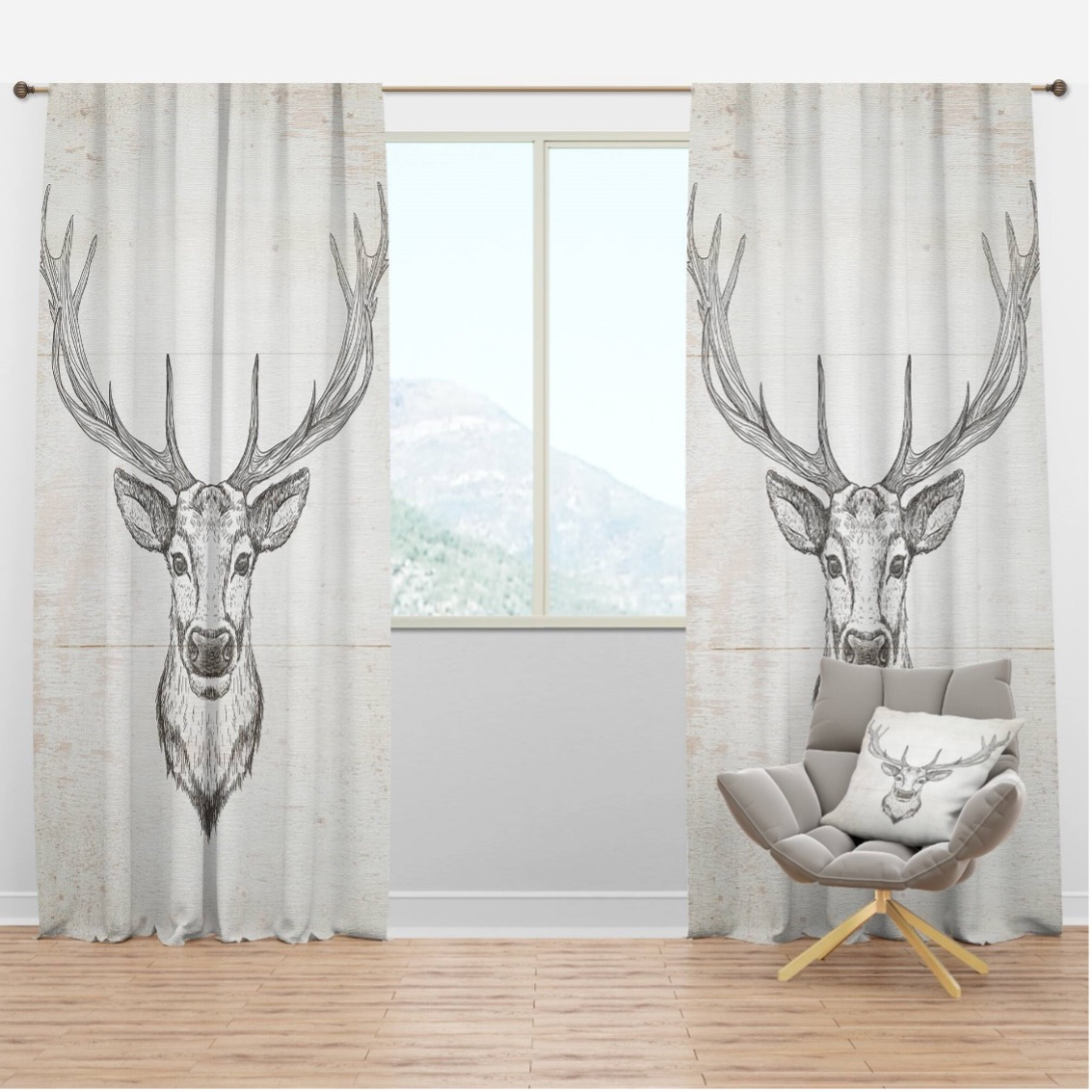 Decorate with Deer Curtain Panels